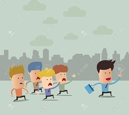 Business cartoon team group with leader  - Vector illustration - EPS10